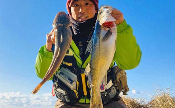 今年占う初釣りサーフゲーム 40cmマゴチ&60cmシーバスと好発進