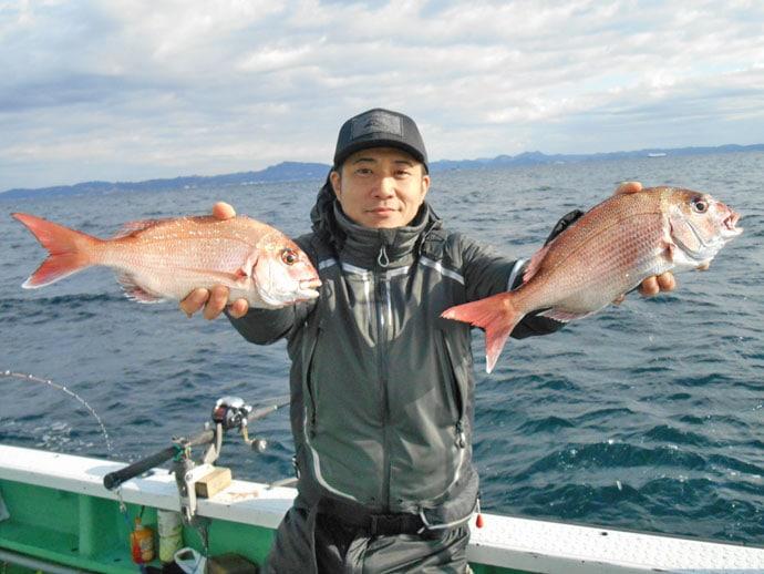 コマセマダイ船で船中トップ5尾 好ゲストは5kg級ワラサ【瀬戸丸】