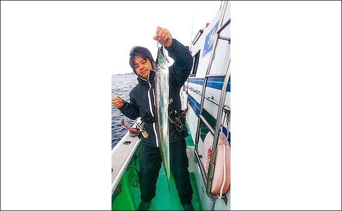 テンヤタチウオ釣行 ラスト3投で指5本級ドラゴン3連発【べっぷ丸】
