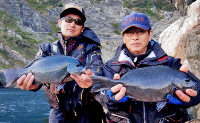 沖磯フカセ釣りでの寒グロ最高潮 40cm頭に親子全員安打【米水津】
