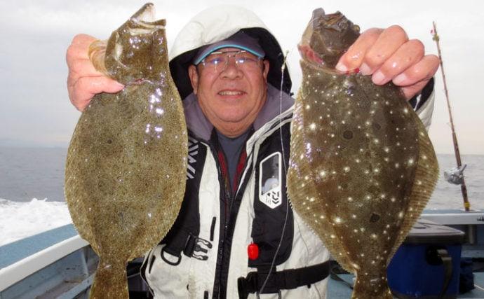 大人気『泳がせ釣り』で54cm頭ヒラメ4匹 マゴチ&マハタも【大進丸】