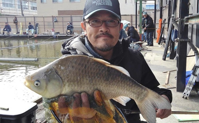 40cm超えが頻繁に顔出し 管理池でヘラブナ釣り堪能【へら釣り西池】