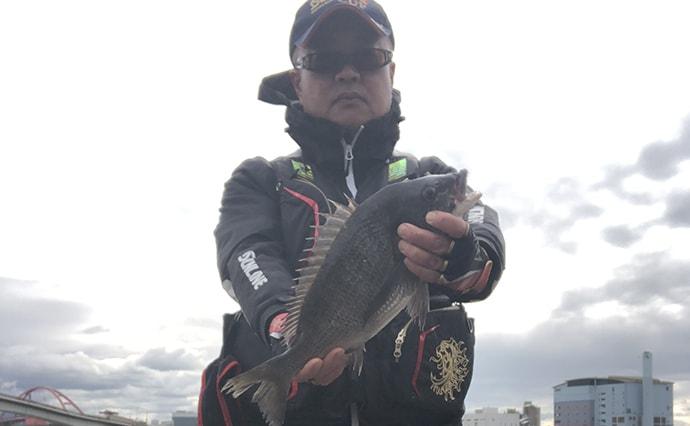 真冬の紀ノ川チヌは強引が魅力 フカセ釣りのつけエサはコーンがアタリ