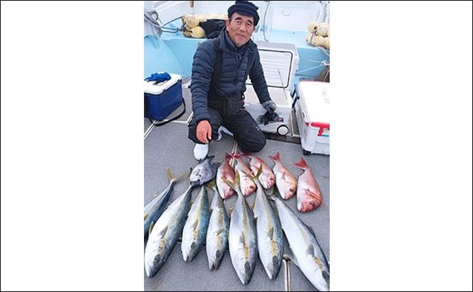 【福岡県】沖のエサ釣り最新釣果 テンビン五目でメダイ&青物&マダイ