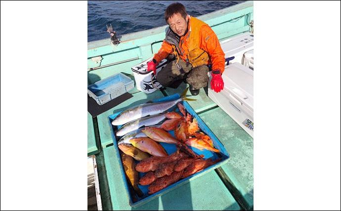 【玄界灘】沖のエサ釣り最新釣果 電動サンマ手繰り釣りで11kg寒ブリ
