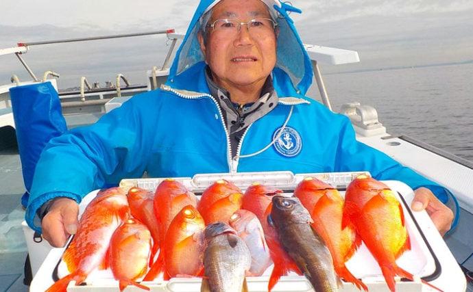 『ライト深場釣り』で高級魚キンメダイ9尾 サバに苦戦【太郎丸】