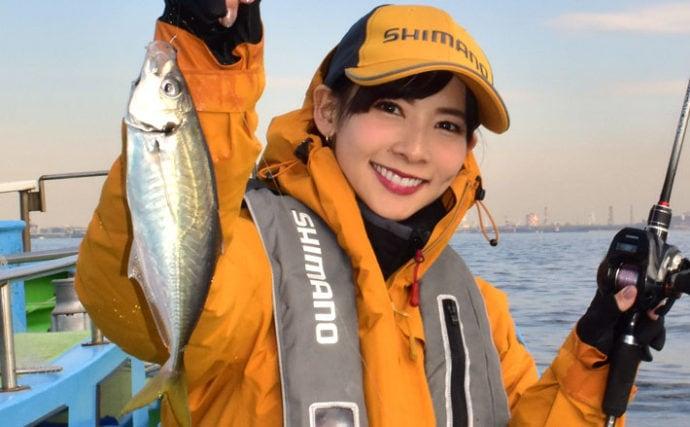 坂本智子が東京湾LTアジで竿頭 30cm頭に本命30尾【一之瀬丸】