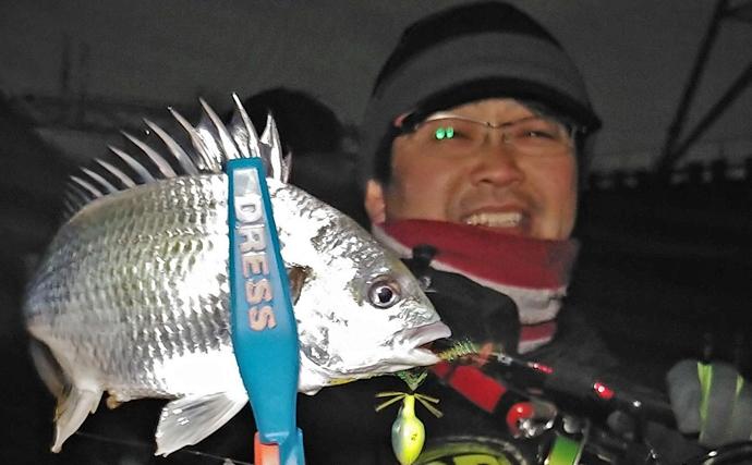 寒波の中『チニング』にてキビレ手中 ネオンカラーがアタリ【潮見橋】