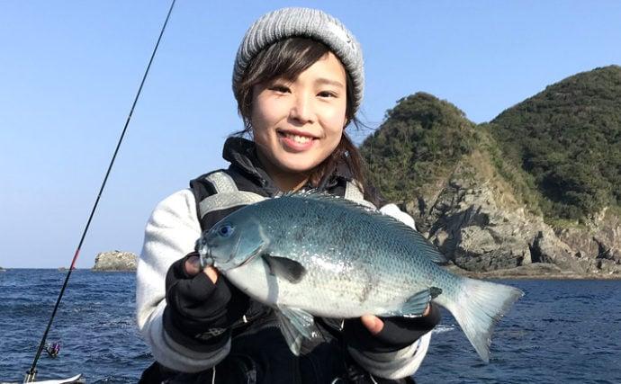 人生3回目の磯釣りで念願のクロ2尾を手中【大分県・深島の磯】