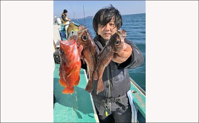 期間限定『泳がせ根魚五目(イワシメバル)』でヒラメ乱舞【ちがさき丸】