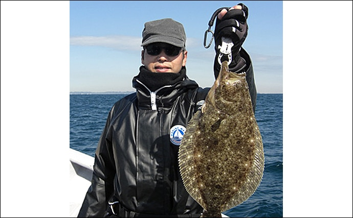 イワシ泳がせのヒラメ釣り 本命の他マゴチにワラサと多彩釣果【直栄丸】
