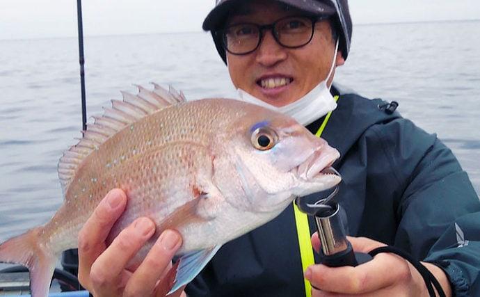 ボートタイラバ&ティップラン マダイに根魚にコウイカ手中【三重県】
