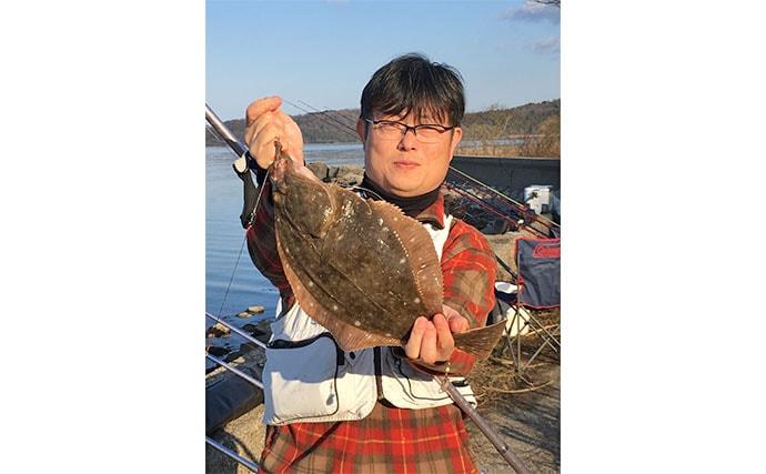 投げカレイ釣りで座布団44cm頭に3匹 エサ取りに苦戦【石川・能登島】
