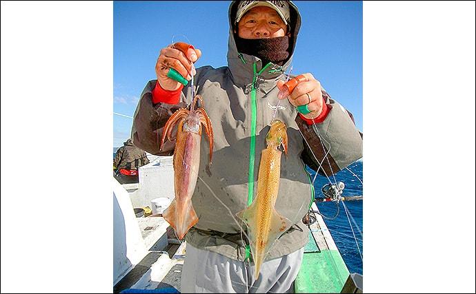 ヤリ&スルメイカ釣りで好乗り 52cm頭に26尾【千葉県・大栄丸】