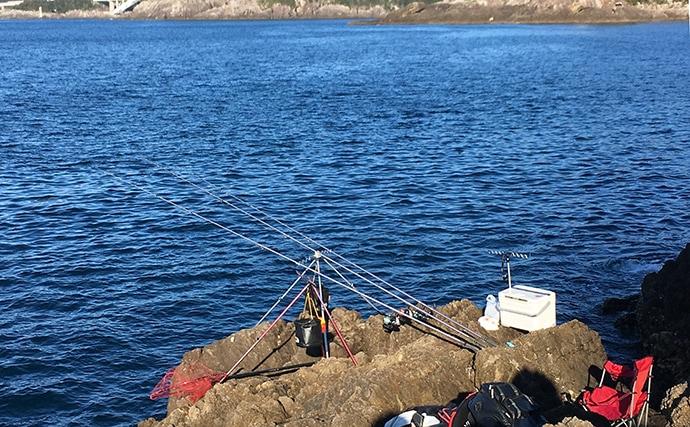 磯からの投げカワハギ釣りで32cm良型をキャッチ【和歌山・串本大島】