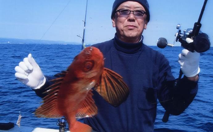 日立沖テンヤマダイ釣行で船中本命全員安打 好ゲストも顔見せ【弁天丸】
