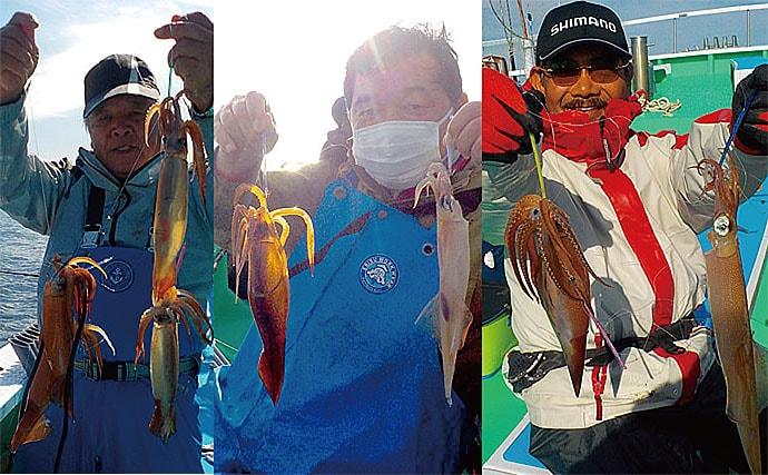 イカ釣りの大敵はサバ? ヤリイカ釣りで本命&スルメ40尾【瀬戸丸】