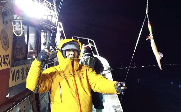 シーズン佳境のヤリイカ釣りで船中50パイ 浮きスッテがアタリ【福井】