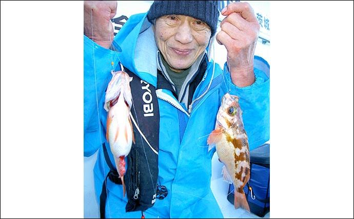 オキメバル釣りで良型多点掛け連発 船中35cm頭に46尾【日立沖】