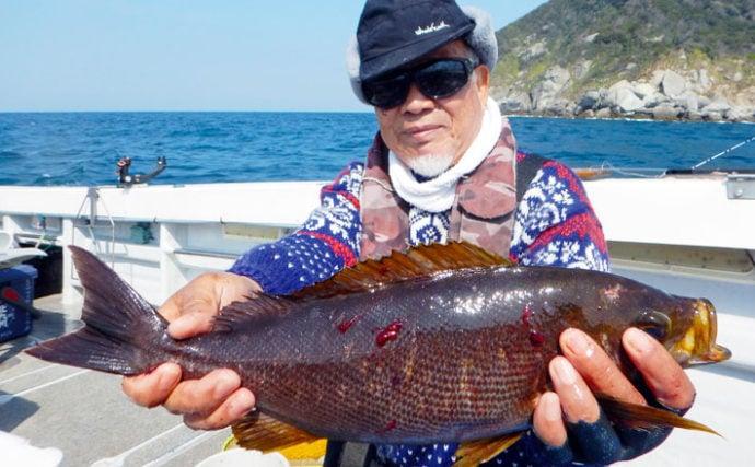 玄界灘イサキ釣りで30cm級中心に58尾 ゲストにヒラマサ【第二大福丸】