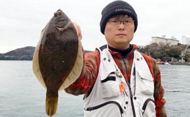 波止での投げ釣りで33cmマコガレイキャッチ 無欲が奏功?【三重】