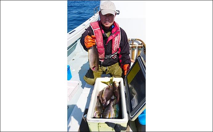 【響灘】船釣り最新釣果 タイラバ&SLJで良型の乗っ込みマダイ顔見せ