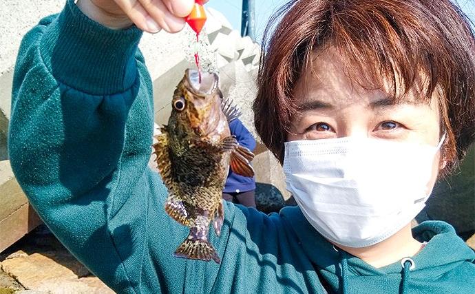 親子でブラクリ仕掛けの穴釣り堪能 根魚20尾と対面【山口・本山岬】