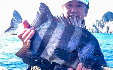 磯での底物釣りで本命イシダイ3kg級を手中【鹿児島・上甑島】