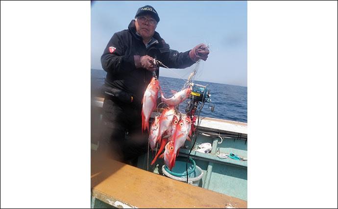 遠州沖キンメ船で16点掛け 釣り座によって命運わかれる?【静岡】