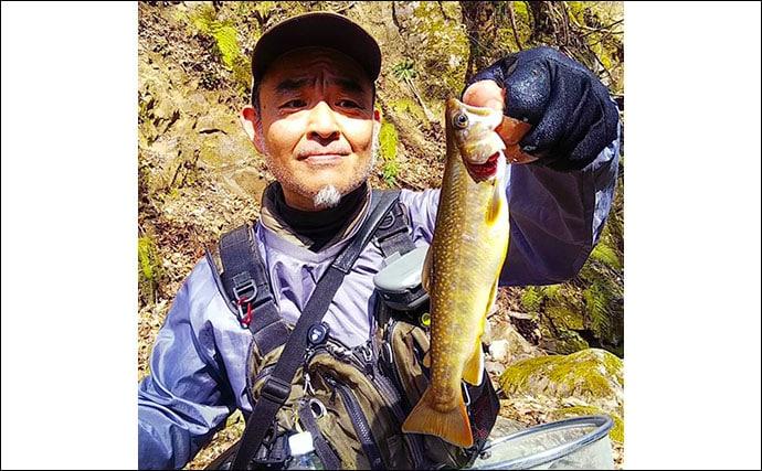 渓流エサ釣りで36cm大イワナ手中 源流部でヒット【福井・打波川】