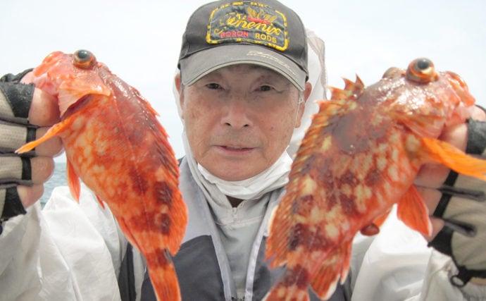 伊良湖沖カサゴ五目釣りで本命64匹 数釣り達成で満足【愛知】