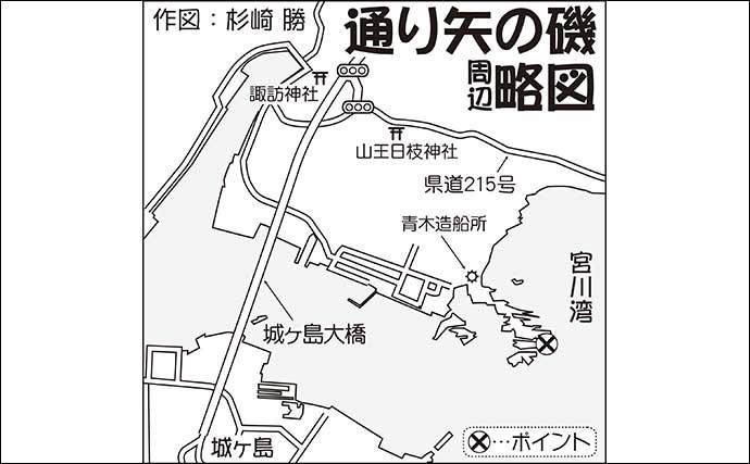 陸っぱりエギング&ジギングゲームで54cmイナダ【神奈川・通り矢の磯】
