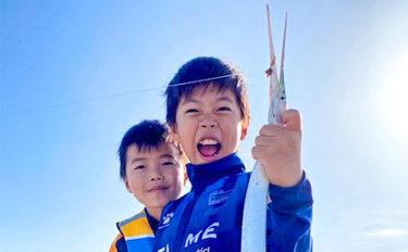 子供を連れてちょい投げ釣り 60cmダツに最高の笑顔【愛知・南知多】