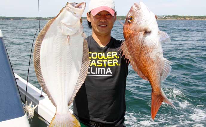 『タテ釣り』で良型マダイ&ヒラメ乱舞 釣れ過ぎ早上がり?【魚勘丸】