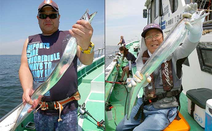 東京湾エサタチウオ釣りで幅広の良型乱舞に大満足【神奈川・鴨下丸】