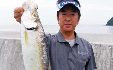 ジグヘッド+青虫で60cm級「ヒラ」をキャッチ【熊本・松合漁港】