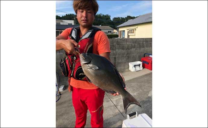 磯フカセ釣りで52.5cm尾長グレ ロクマル級のバラシも【宮崎・水島】