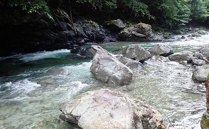 マイナスイオン満載の渓流でルアーゲーム堪能 アマゴ15尾超【舟の川】