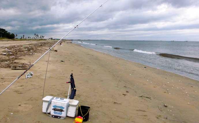 投げキス釣りで21cm頭に152匹 最大7点掛けも【三重・町屋海岸】