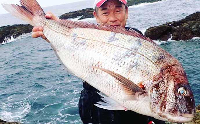 沖磯での底物釣りで想定外の80cmマダイ浮上【長崎・野母三ツ瀬】