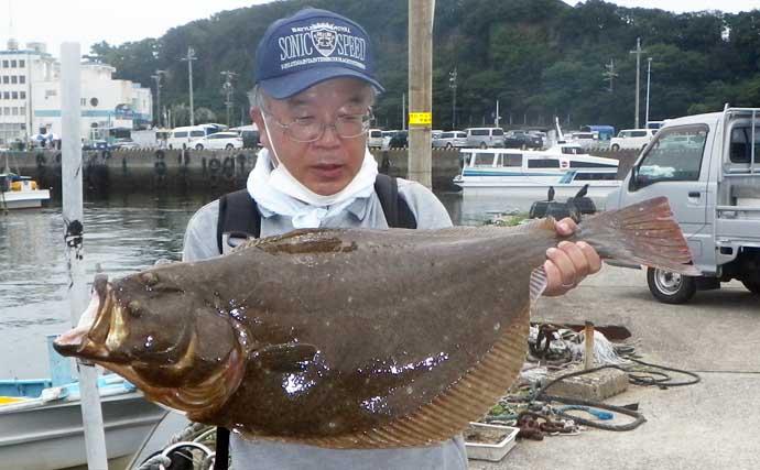 伊良湖沖の泳がせ釣りで83cm頭に良型ヒラメ顔見せ【愛知・昭徳丸】