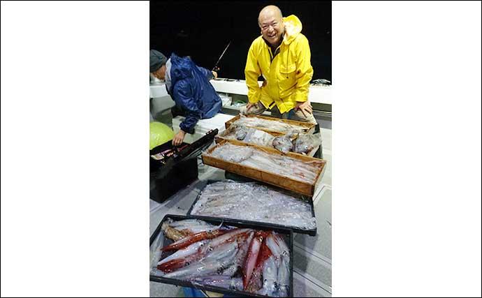 【響灘】夜焚きイカ最新釣果 パラソル級交じりで100尾オーバー続出