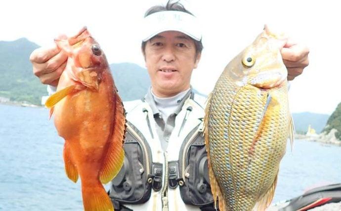 磯でのカゴ&ブッ込み釣りで本命『タバメ』手中良型アカハタも【上甑島】