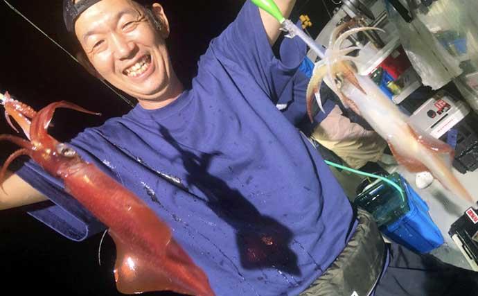 【福岡】夜焚きイカ最新釣果 パラソル級交じりで130尾超えの大釣りも