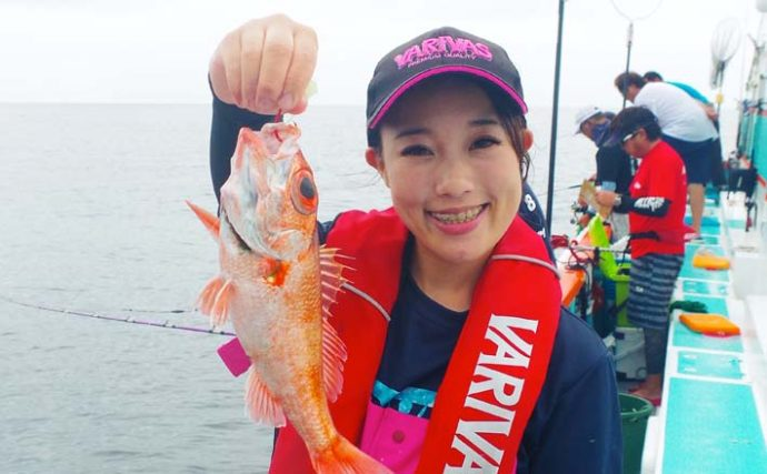 茨城沖アカムツ釣りで本命2尾 自作仕掛けでキャッチ【丸天丸】