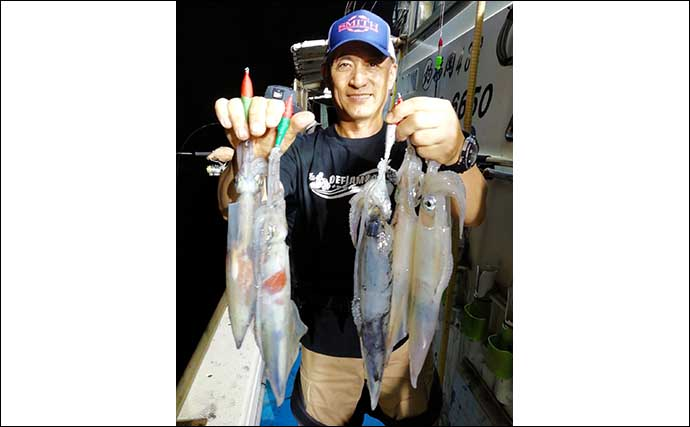 【福岡】夜焚きイカ最新釣果 良型主体で1人180尾の好釣果も