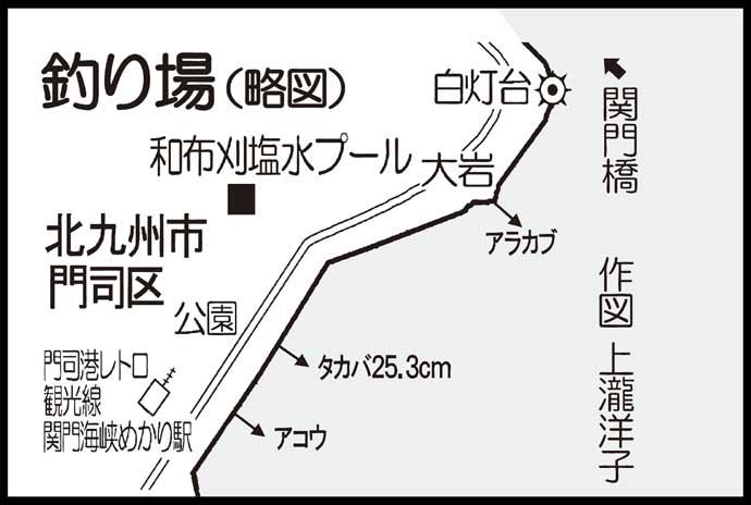 陸っぱりロックフィッシュゲームでタカバ登場【福岡・めかり海岸】