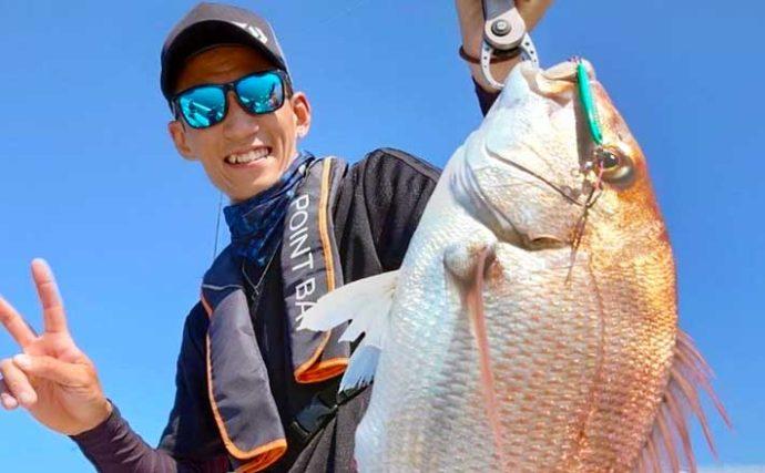 【福岡・響灘】沖釣り最新釣果 SLJ&タイラバで50cm級マダイ27尾