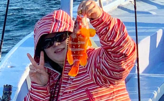 船からの「ロックフィッシュゲーム」でアカハタ乱舞【千葉・有希丸】