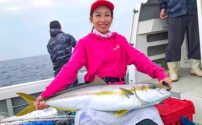 『落とし込み』釣りで93cmヒラマサ&79cmマダイ【福岡・星龍丸】